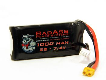 BadAss 45C 1000mah 2S LiPo Battery