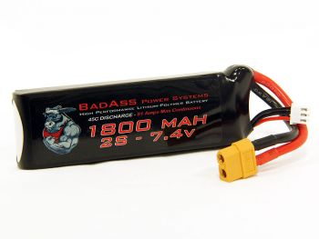 BadAss 45C 1800mah 2S LiPo Battery