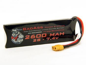 BadAss 45C 2600mah 2S LiPo Battery
