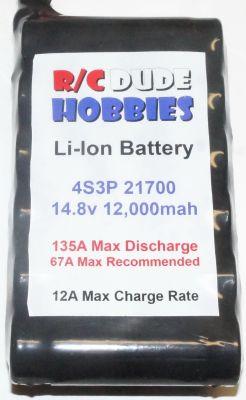 RC Dude HD Series Li-Ion Battery - 4S3P 14.8v 12,000mah